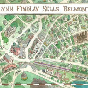 Belmont Center Map   watercolor, 14in x 9.5in